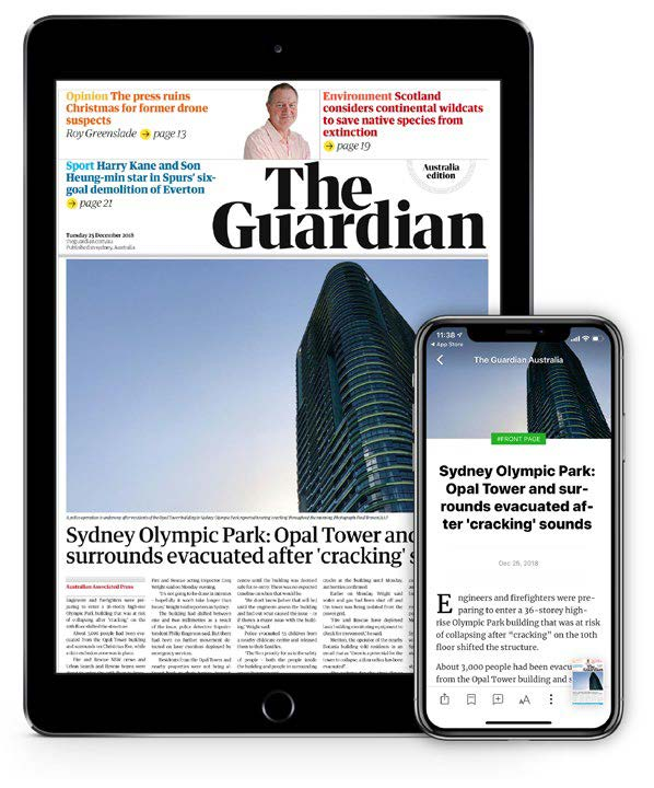 The digital edition of Guardian Australia is filled with The Guardian's web content.