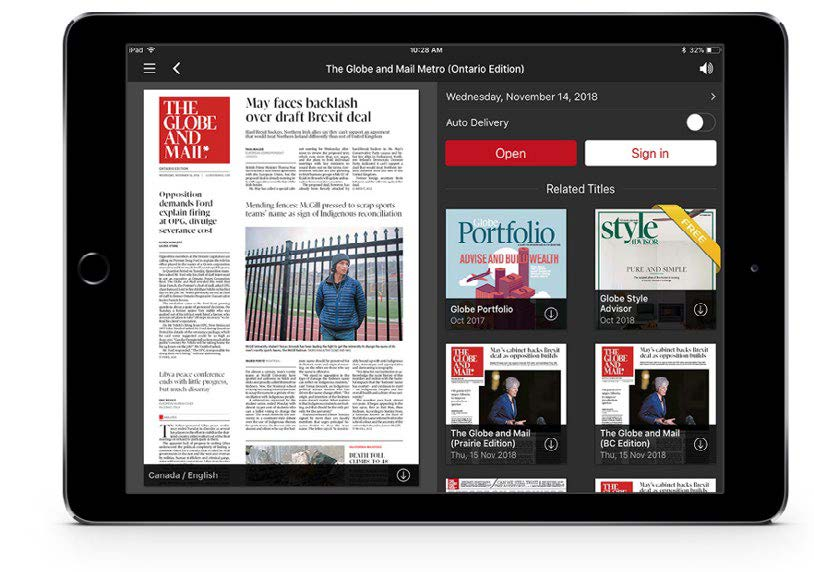 The Globe and Mail digital edition